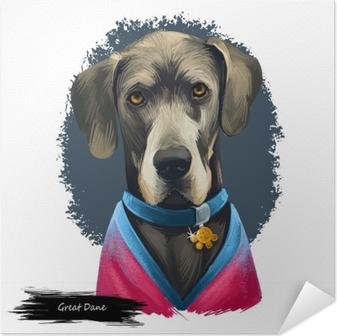 Poster Autoadesivo Great dane, deutsche dogge, illustrazione di arte digitale cane mastiff tedesco isolato su sfondo bianco. lavoro di origine germania, cane guardiano. ritratto disegnato a mano dell'animale domestico. disegno grafico di clip art