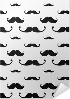 Poster Autoadesivo Hipster Baffo Seamless Pattern