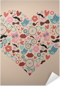Poster Autoadesivo Hipster Doodles Situato a forma di cuore