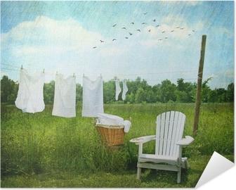 Poster Autoadesivo Lavanderia essiccazione su clothesline