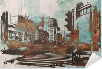 Poster Autoadesivo Paesaggio urbano urbano con grunge astratta, illustrazione pittura