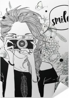Poster Autoadesivo Ragazza sveglia del fumetto
