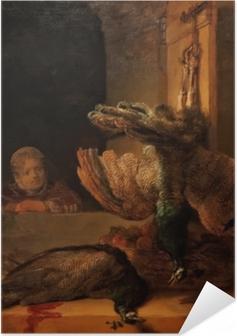 Poster Autoadesivo Rembrandt - Natura morta con due pavoni e una ragazza