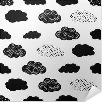 Poster Autoadesivo Seamless in bianco e nero con le nuvole. Cute baby shower vector background. illustrazione di disegno del bambino di stile.