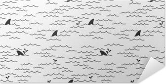 Poster Autoadesivo Seamless pattern di squalo delfino vettore balena mare oceano doodle isolato sfondo sfondo bianco
