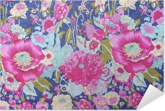 Poster Autoadesivo Stile vintage di fiori arazzo tessuto di fondo del modello