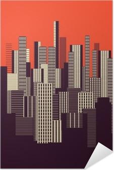 Poster Autoadesivo Un tre colori grafica astratta manifesto paesaggio urbano in arancione e marrone