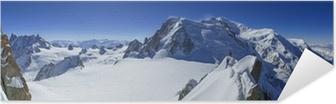 Poster Autoadesivo Vallee Blanche Mont Blanc e Aiguille du Midi visto da