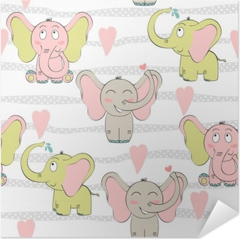 Carta da parati vector seamless con elefanti carino cartone animato