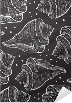Poster Autoadesivo Vector seamless seashells su uno sfondo lavagna