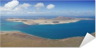 Poster Autoadesivo Vista panoramica su isola di La Graciosa, Lanzarote, Spagna