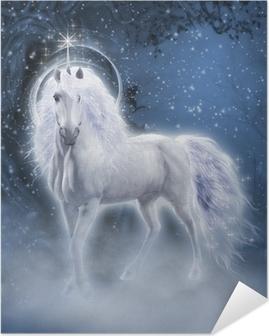 Poster Autoadesivo White Unicorn 3d computer grafica