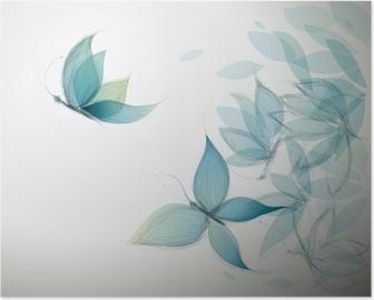 Poster Azure Blumen wie Schmetterlinge / Surreal Skizze