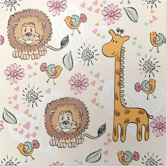 Poster Babys Hand Zeichnen Nahtlose Muster Mit Tieren Pixers