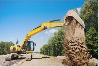 Poster Bagger Entladen Sand während Straßenbauarbeiten
