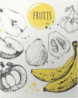 Poster Banana, mangostano, mela, bergamotto. Hand drawn set con cibo fresco.