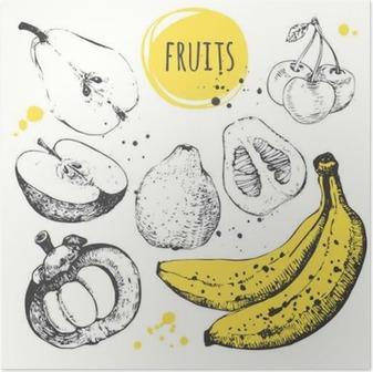 Poster Banane, Mangostan-Frucht, Apfel, Bergamotte. Hand gezeichnet Set mit frischen Lebensmitteln.