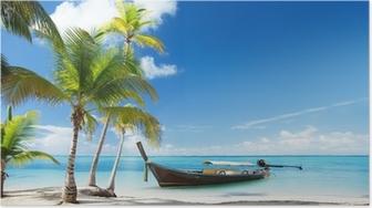 Poster Barca di legno sulla spiaggia