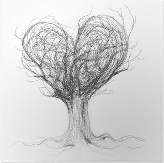 Poster Hand zeichnen ein Herz / realistische Skizze (nicht auto ...