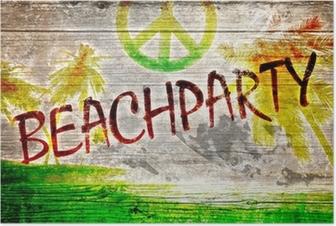 Poster Beach Party graffiti sulla vecchia tavola di legno