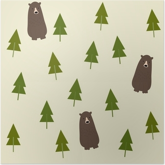 Poster Bear and forest seamless background.