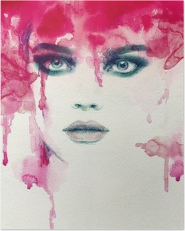 Poster Bella donna. acquerello illustrazione