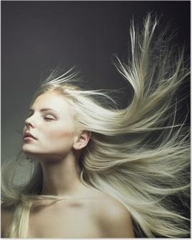Poster Bella donna con magnifici capelli