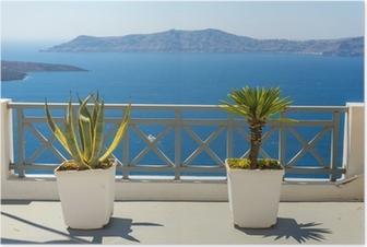 Poster Bella veduta sul mare Fira a Santorini, in Grecia