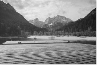 Poster Bellissimo lago scenico jasna in estate, kranjska gora, in slovenia