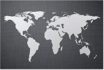 Poster Bianco mappa del mondo.