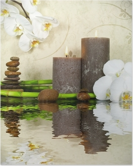 Poster Bianco, orchidee e bambù con le candele e le pietre