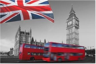 Poster Big Ben mit Stadtbussen und Flagge von England, London