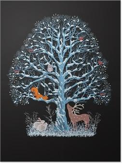 Poster Big Blue Tree mit verschiedenen Tieren auf schwarzem Hintergrund
