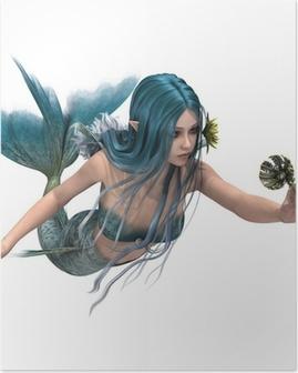 Poster Blaue Meerjungfrau hält Sea Lily