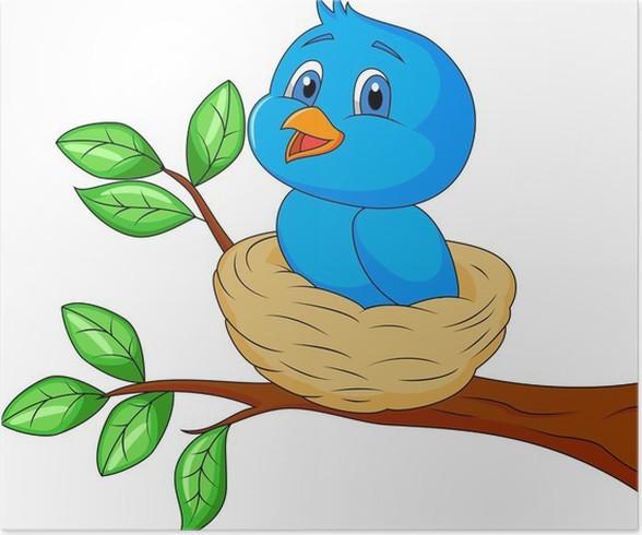 Poster Blauer Vogel Cartoon im Nest • Pixers® - Wir leben, um zu ...