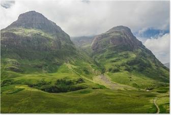 Poster Blick auf die Berge in Schottland im Glencoe