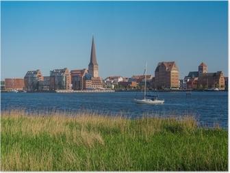 Poster Blick über die Warnow auf die Hansestadt Rostock.