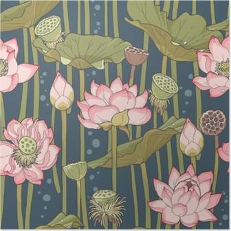 Poster Blooming Lotus nahtlose