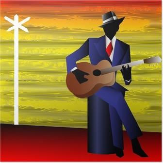 Poster Blues Guitarist al bivio, vettore sfondo per un Conce
