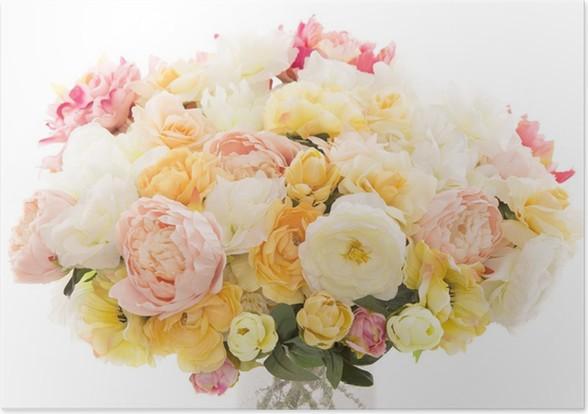 Poster Blumen Bouquet Pfingstrose, Pastellblumenfarben, weißen ...
