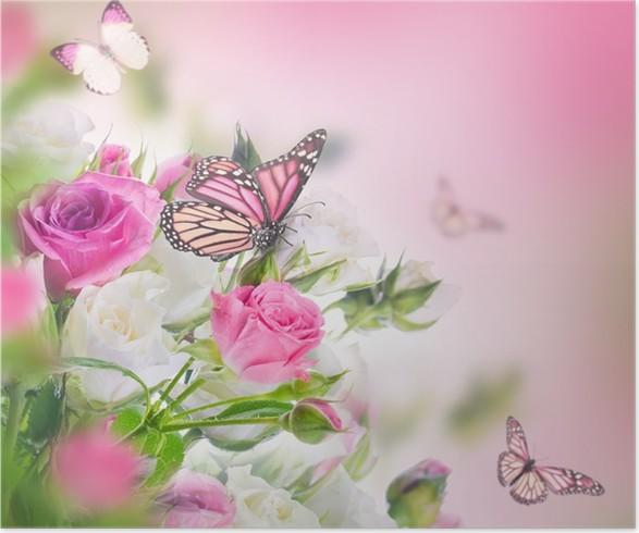 Poster Bouquet aus weißen und rosa Rosen, Schmetterling ...