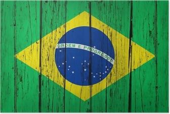 Poster Brasilien-Flagge Wood Background