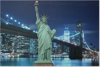 Poster Brooklyn Bridge und die Freiheitsstatue bei Nacht