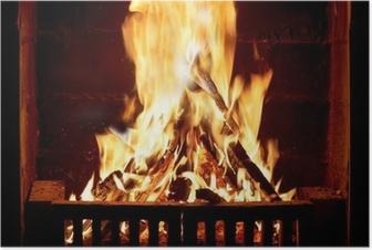 Poster Brucia il fuoco nel camino