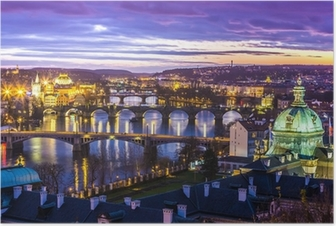 Poster Brücken in Prag über den Fluss bei Sonnenuntergang