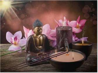 Poster Buddah witn Kerze und Räucherstäbchen