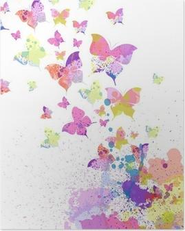Poster Bunte abstrakte Vektor Hintergrund mit Schmetterlingen