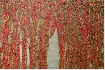 Poster Bunte Schlingpflanzen bedeckt Wand aus Beton. Herbstfarben.