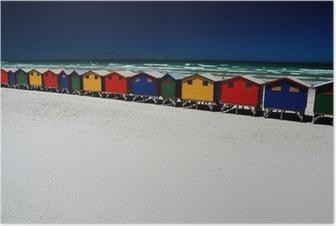 Poster Bunte Strandhütten. Muizenberg, Südafrika