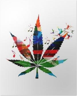 Poster Bunte Vektor Cannabis-Blatt mit Kolibris Hintergrund